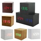 Modern Squared Wooden Wood Digital Desk Alarm Clock Sound Control Thermometer