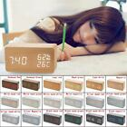 Unique Wooden Digital LED Desk Voice Control Alarm Clock Timer Thermometer Hot