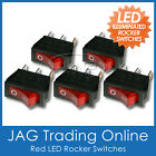 5 x RED LED ON/OFF ILLUMINATED ROCKER SWITCH - Boat/Caravan/Toggle/4x4/Truck/RV
