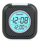 Sharp Digital Alarm Clock Vibrating Pillow Black Portable Travel with Snooze NEW