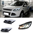 For Ford Escape 13-15 Front Left&Right Headlight Assembly White Angel Eyes Lamps