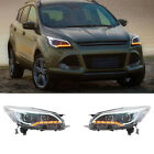 For Ford Escape 2013-15 Front Headlight Assembly White Angel Eyes + Corner Lamps