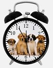 "Cute Puppies Dogs Alarm Desk Clock 3.75"" Home or Office Decor W151 Nice For Gift"