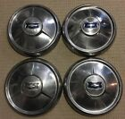 "1953? 1954 Chevrolet Car Hubcaps (4) Dog Dish Chevy Bowtie 10.5"" OD Hot Rat Rod"