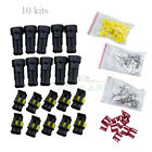 10 Kits 2 Pin Way Waterproof Electrical HID Wire Connector Plug Car Truck Moto