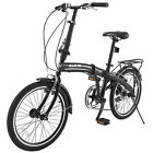 "New 20"" Mini Folding Bike Foldable 6 Speed Bicycle  Shimano School Bicycle Black"