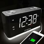 Bedside Office Dual Alarm Clock Radio Cell Phone USB Charge Digital FM Radio