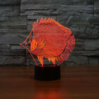 Fish 3D Lamp Bedroom Night Light Multi 7Color Change Nightlight for Modern Decor