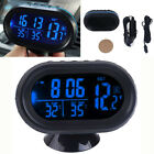 1pcs 12-24V Car LCD Digital Clock In/Out Temperature Thermometer Voltmeter Blue