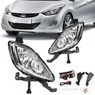 for 2011-2013 Hyundai Elantra Clear Front Bumper Fog Lights Lamps+Wiring+Switch