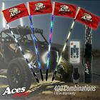 x2 Deluxe 4ft Spiral 400 Combination LED Whips w/-Quick Disconnect-American Flag