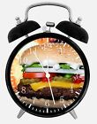 "Hamburger Alarm Desk Clock 3.75"" Home or Office Decor E283 Nice For Gift"
