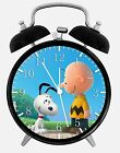 "Snoopy Charlie Brown Alarm Desk Clock 3.75"" Home or Office Decor E288"