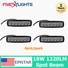 4PCS 6INCH 18W LED WORK LIGHT BAR SPOT DRIVING OFF-ROAD FOG JEEP TRUCK SUV BOAT