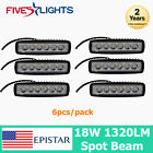 6PCS 6INCH 18W LED WORK LIGHT BAR SPOT DRIVING OFF-ROAD FOG JEEP TRUCK SUV BOAT