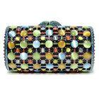 WOMEN Luxury Evening Bag HARD SHELL Stripe Cat Eye Crystal-Embellished Cylinder