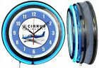 "Cirrus Aircraft Blue 19"" Double Neon Clock Blue Neon Chrome Finish"