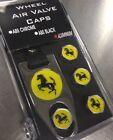 Ferrari Logo Theft-Deterrent Aluminum Finish Plastic Valve Cap Set w/KEYRING