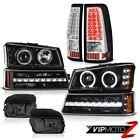 03-06 Silverado 2500Hd Fog Lamps Euro Clear Tail Black Bumper Lamp Headlights