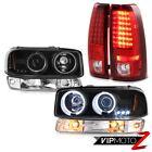 99-02 Sierra 5.3L Red led taillights clear chrome signal light ccfl headlights