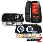 99-02 Sierra GMT800 Smoked smd tail lamps bumper light ccfl projector headlights