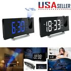 Multifunction Digital FM Radio Alarm Clock Projection Clock 5'' Curved-Screen