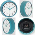 Turquoise Retro Wall Clock Metal Vintage Design Home Kitchen Decor 9-1/2 Inch