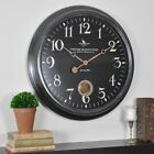 FirsTime Round Analog Wall Clock Quartz Movement 24 in Distressed Black New