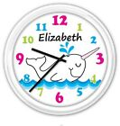 Narwhal Whale SILENT Wall Clock PERSONALIZED Baby Nursery Girls Room GREAT GIFT