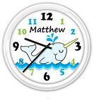 Narwhal Whale SILENT Wall Clock PERSONALIZED Baby Nursery Boys Room Blue GIFT