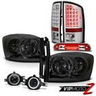 07 08 Ram WS L+R Headlights SMD Tail Lights Halo Projector Fog 3rd Brake Red LED