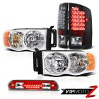 Euro Chrome Headlights Bright LED Tail Lights 3rd Red 02 03 04 05 Ram PowerTech