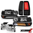 99-02 Silverado 4.3L Tail Brake Lamps Black Headlamps Clear Chrome Fog Tron Tube