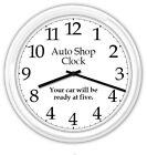 Auto Shop SILENT Wall Clock Garage Body Repair Tire Brake Shop Sign - FUNNY GIFT