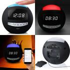 Alarm Clock AM FM Radio Wireless Bluetooth Speaker Aux USB Charger Night Light