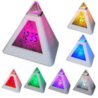 7 Colors Digital LED Alarm Clock Bell Pyramid LCD Thermometer Time Clocks Gift