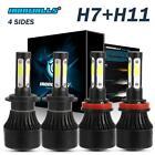 H7 H11 Combo LED Headlight Bulbs Hi Low Beam Fog Lights Total 2800W 6500K White