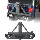 Rock Crawler Metal Rear Bumper w/ Tire Carrier for Jeep Wrangler TJ 1997-2006