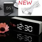 NEW Mirror LED Digital Display Snooze Alarm Clock Time Temperature Night Mode