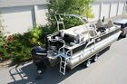 24 ft pontoon boat tritoon with high performance tubes with 300 and trailer