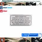 New Jaguar E-Type Duplex Manifold Label ID0014