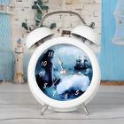 Novelty Dreamlike Beauty Mermaid Silent Sweep Metal Alarm Clock with Night Light