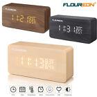Wooden LED Cube Digital Desk Alarm Clock Calendar Time Temperature Humidity