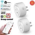 2Pcs Mini Smart Plug Outlet Wifi Socket Timer Work With Amazon Alexa Google Home