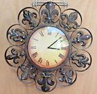 Fleur De Lis Quartz movement Clock Antiqued copper finished metal Roman Numerals