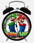 "Super Mario Luigi Alarm Desk Clock 3.75"" Home or Office Decor W90 Nice For Gifts"