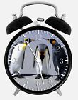 "Funny Penguins Alarm Desk Clock 3.75"" Home or Office Decor W95 Nice For Gift"