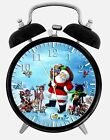 "Santa Claus Alarm Desk Clock 3.75"" Home or Office Decor W111 Nice For Gift"