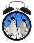 "Cute Penguins Alarm Desk Clock 3.75"" Room Office Decor W30 Be A Nice Gift"