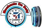 "Cessna Aircraft w/ Mechanic on Duty Marquee 19"" Blue Neon Clock Mancave"